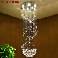 VALLKIN Modern Long LED Spiral Living Crystal Chandeliers Lighting Fixture For Staircase Stair Lamp Showcase Bedroom