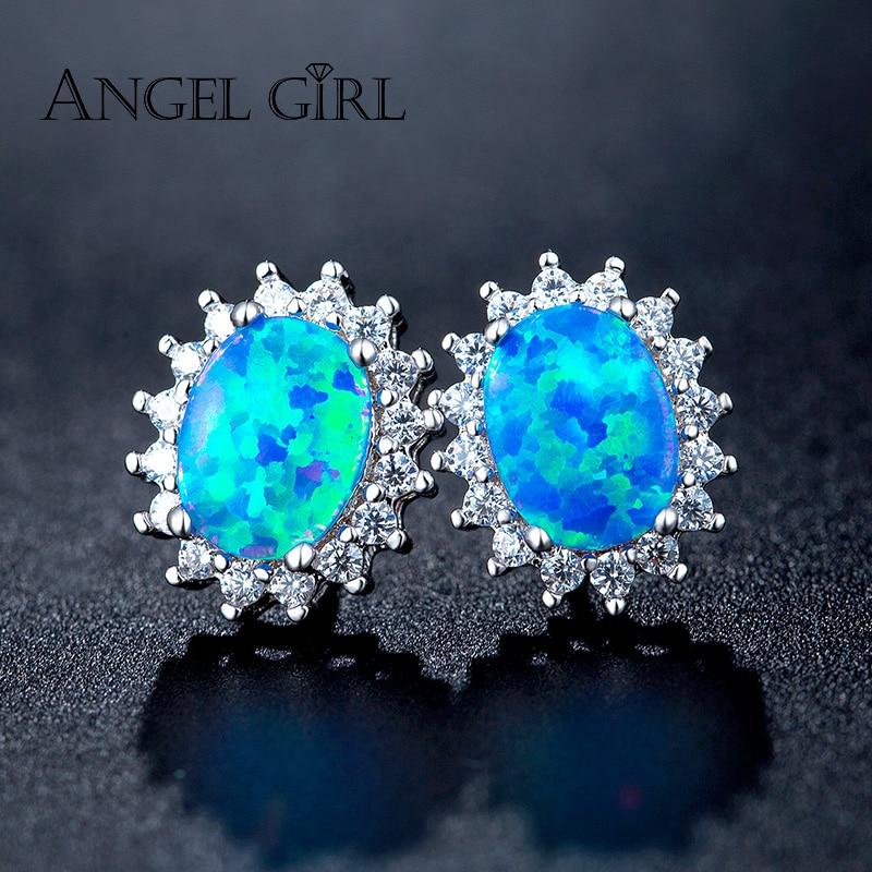7d4eef086 Angel Girl Classic Design Sliver Color Big Oval Blue Opal 6mm CZ Crystal  Wedding Stud Earrings