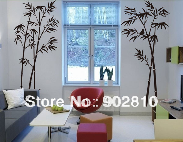 [listed in stock]-90x60cm Black 3d sticker Wall decor of Bamboo and bird art