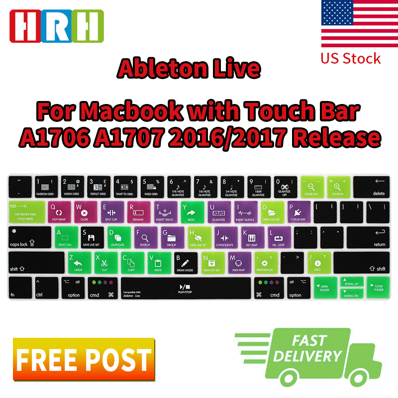 HRH Ableton Live Hotkey Shortcuts US Silicone Keyboard Cover Skin Protector For Mac New Pro 1315 With Touch Bar A1706 A1707