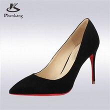 Phenkangผู้หญิงเซ็กซี่สีดำด้าน12เซนติเมตร10เซนติเมตร8.5เซนติเมตรบางสูงหนังนิ่มOLอาชีพสีแดงรองเท้าส้นแหลมปั๊มแต่งงานรองเท้า