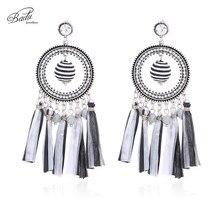 Badu Raffia Earring Women Statement Black White Wax Ball Pendant Vintage Drop Earrings Party Jewelry Shipping