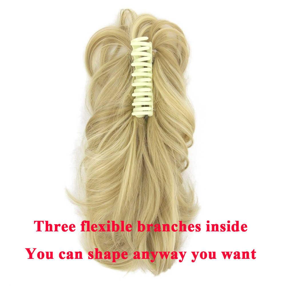 Soowee cabelo curto encaracolado pedaço cinza garra rabo de cavalo cabelo sintético loira grampo em extensões de cabelo rabo pônei
