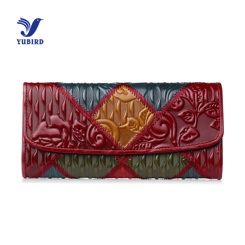 YUBIRD Brand Trifold Women Purse Genuine Leather Ladies Clutch Vintage Embossed Patchwork Long Wallet Women Luxury