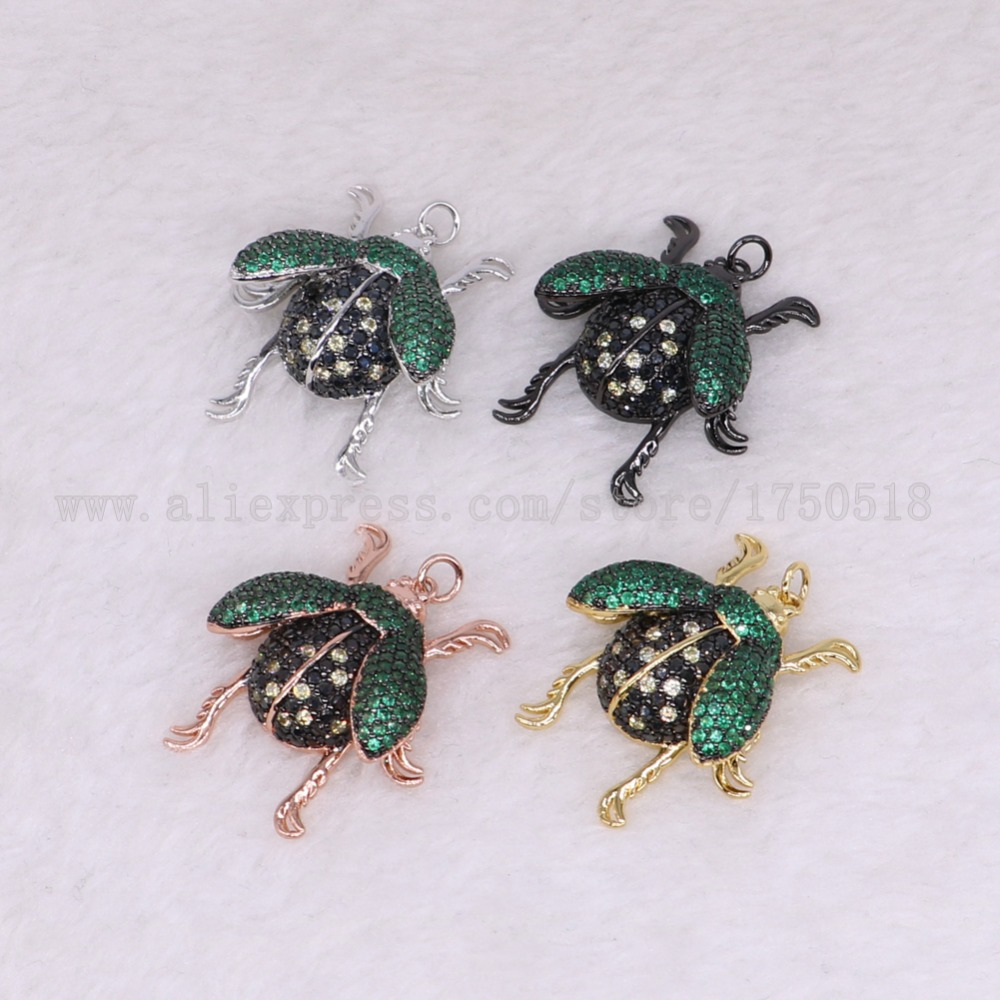 5 pieces bugs pendants green wings for lady charm small size bugs jewelry making micro paved mix color pendants pets beads 2863