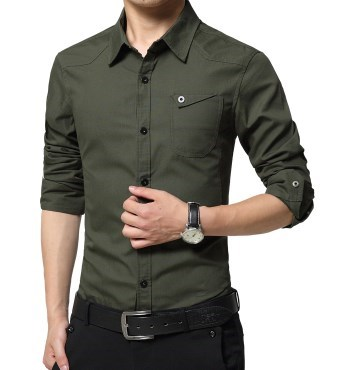 Military Style Mens Dress Business Casual Slim Fit Shirt Long Sleeve Men Two Pockets Cargo Shirt For Men Black White Red Khaki