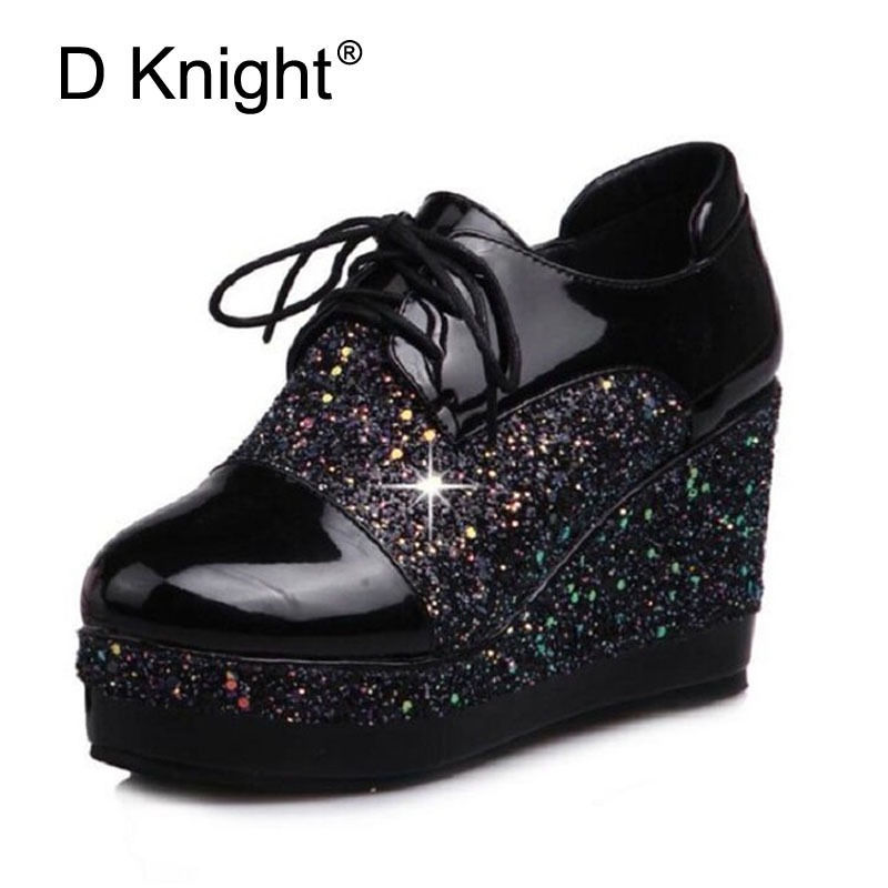 Patent Women Creepers England Style Wedge High Heels Lace up Platform Shoes Woman Sequins Patchwork Wedges Student Women's Pumps retro embroidery women wedges sandals summer style platform shoes woman casual thick high heels creepers slippers plus size 9