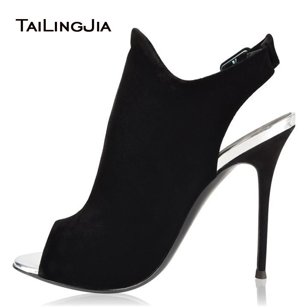 Black Faux Suede Fish Mouth Slingback Ankle Boots for Woman Sexy Ladies Buckle Short Booties Summer Evening Party Dress
