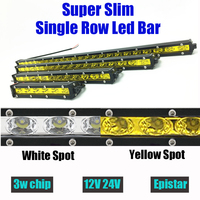 18w 36w 54w 72w 90w Single Row White Yellow Led Light Bar Offroad Work Driving Lamp