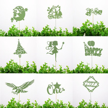 Green Cake Flags Cupcake Cake Toppers Topper Kids Happy Birthday Wedding Bridal Merry Christmas Cake Wrapper Party Baking DIY cake flags happy mother s day best mom cupcake cake topper toppers kids birthday wedding bridal cake wrapper party baking diy