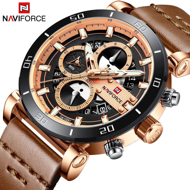 NAVIFORCE Watch For Men Waterproof Sport Chronograph Date Calendar Quartz Watches Mens Luxury Business Leather Wristwatches все цены