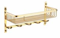 Gold Stainless Steel Shelf with Hook Bracket Shelves Golden basket bathroom shower storage BS003