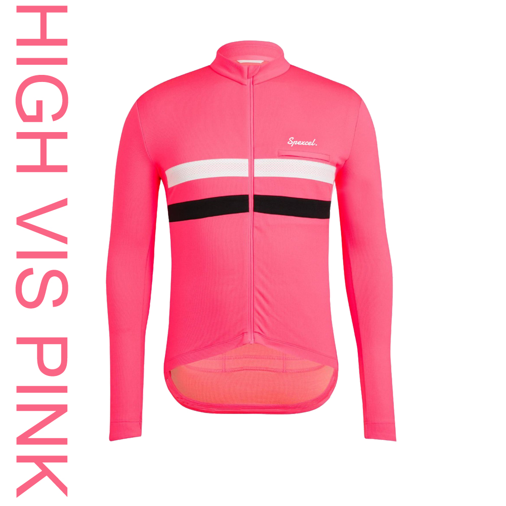 2018 NEW High vis Pink Classic Winter Thermal fleece Cycling Jersey long sleeve with Reflective stripe bicycle clothes|Cycling Jerseys| |  - title=