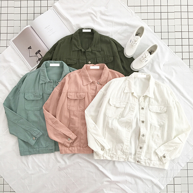 צבעים בהירים ג 'ינס מעיל 2018 אביב חדש מקרית ז' אן מעילי נשים שרוול ארוך דש יחיד רכיסה מעיל מעילים בסיסיים
