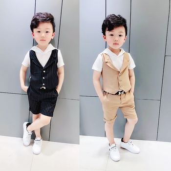 Baby Boy Clothes Set Summer Sets Short Sleeve Hooded T-shirt + Shorts two pieces sets Formal Suit for Wedding Blazer Dress 2pcs одежда на маленьких мальчиков