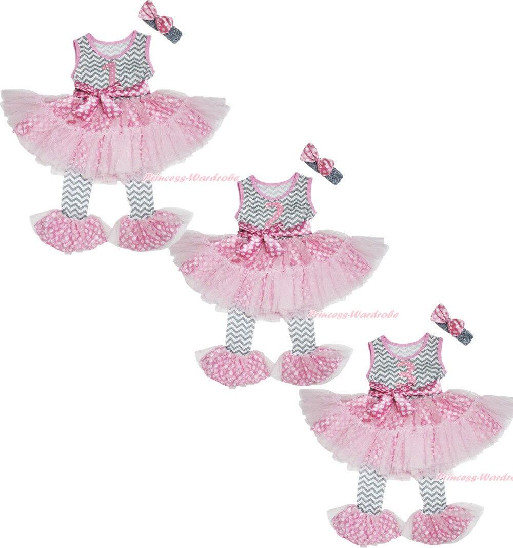 ФОТО Birthday 1ST 2ND 3RD Pink Dot Chevron Girl Top Dance Ruffle Tutu Dress Pants 1-8Year MAPSA0709
