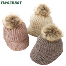 цены на New Children Baby Hats Bonnet Hat Baby Fashion Knitted Autumn Winter Warm Caps Fur Ball Girl Cap Kids Baseball Cap Baby Boy Hat  в интернет-магазинах