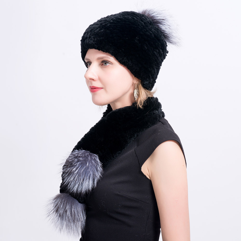 Rex rabbit fur hat scarves pompom  (23)