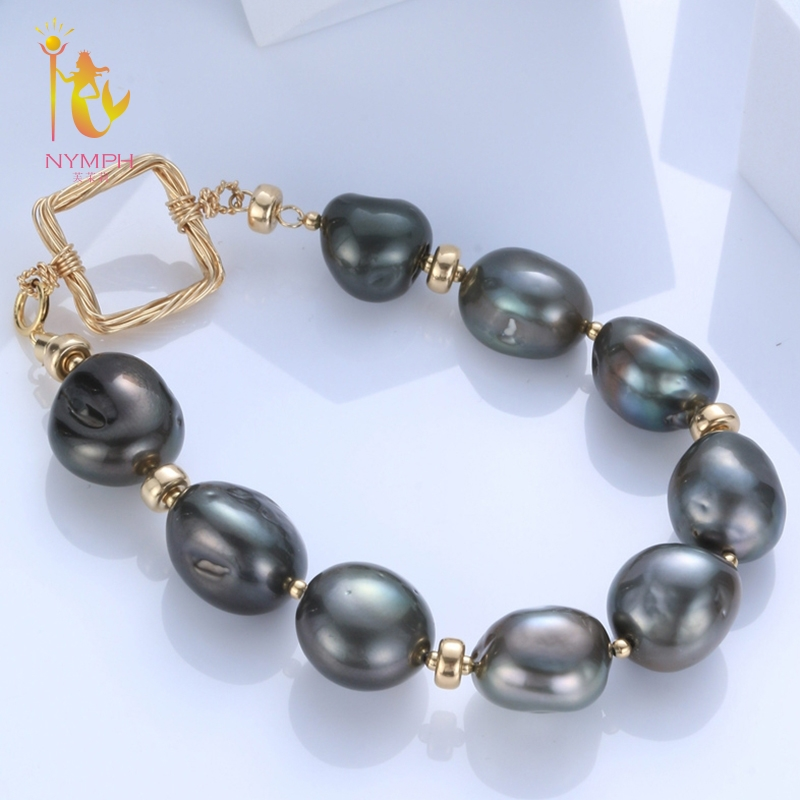 [NYMPH] Natural Pearl Bracelets Pearl Jewelry Baroque Natural Fresh Water Pearl Bracelet For Women S317