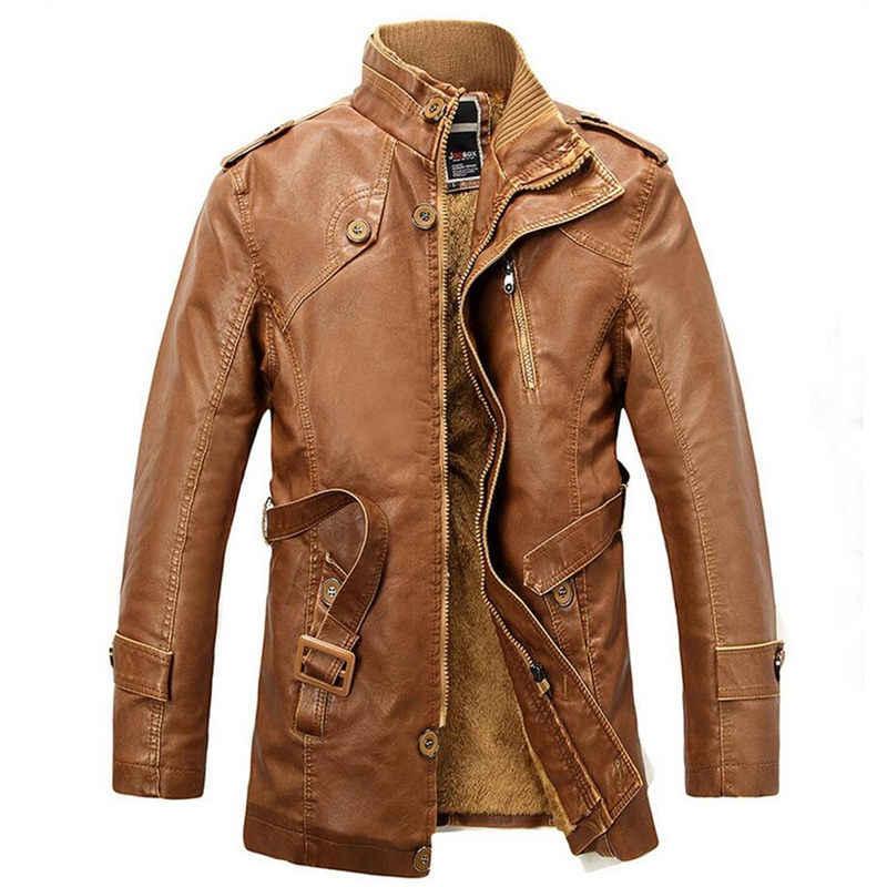 3e0e0af42545 ... Новые зимние мотоциклетные Кожаные куртки Для мужчин длинные утепленные  Винтаж Кожаные куртки мужской Повседневное пальто из ...