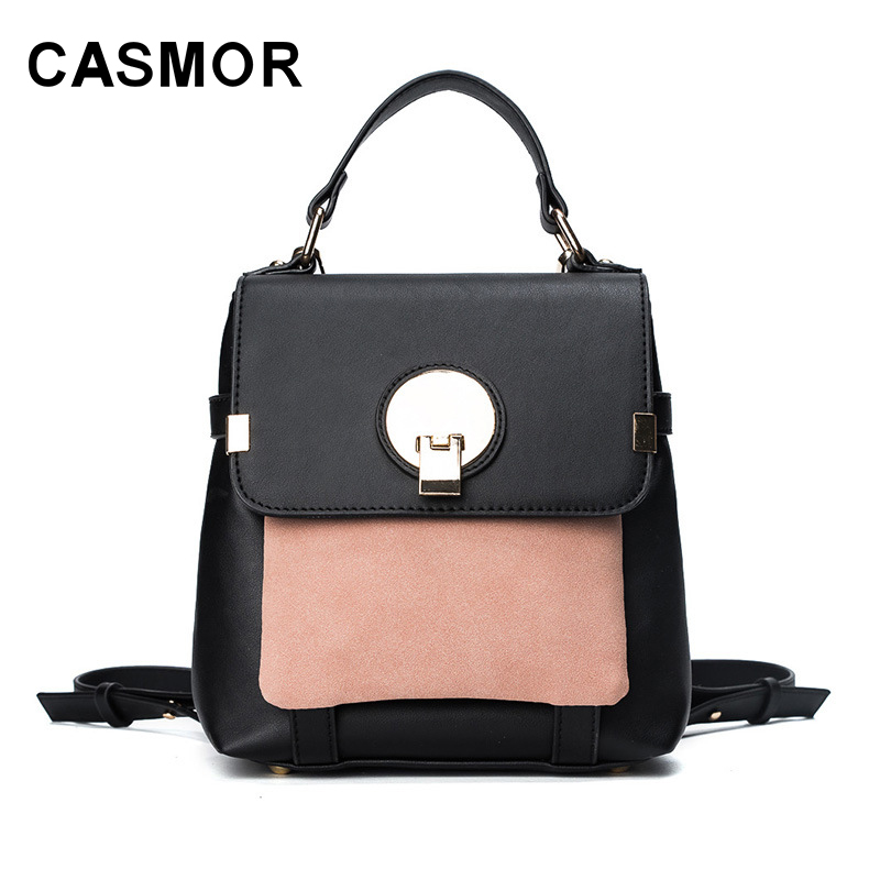 CASMOR New Fashion PU Leather Backpacks Vintage Mini Panelled Teenage Women Female School bag For Girls High Quality backpack melodycollection candy color pu leather mini backpack for women girls purse fashion schoolbag mini casual daypack dome backpacks