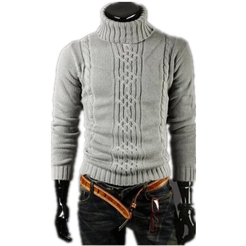2019 Men's Thick Warm  Turtleneck Elasticity Sweater Sweater Irregular Fashion Tide Models Fitted British Shipping M\L\XL\XXL