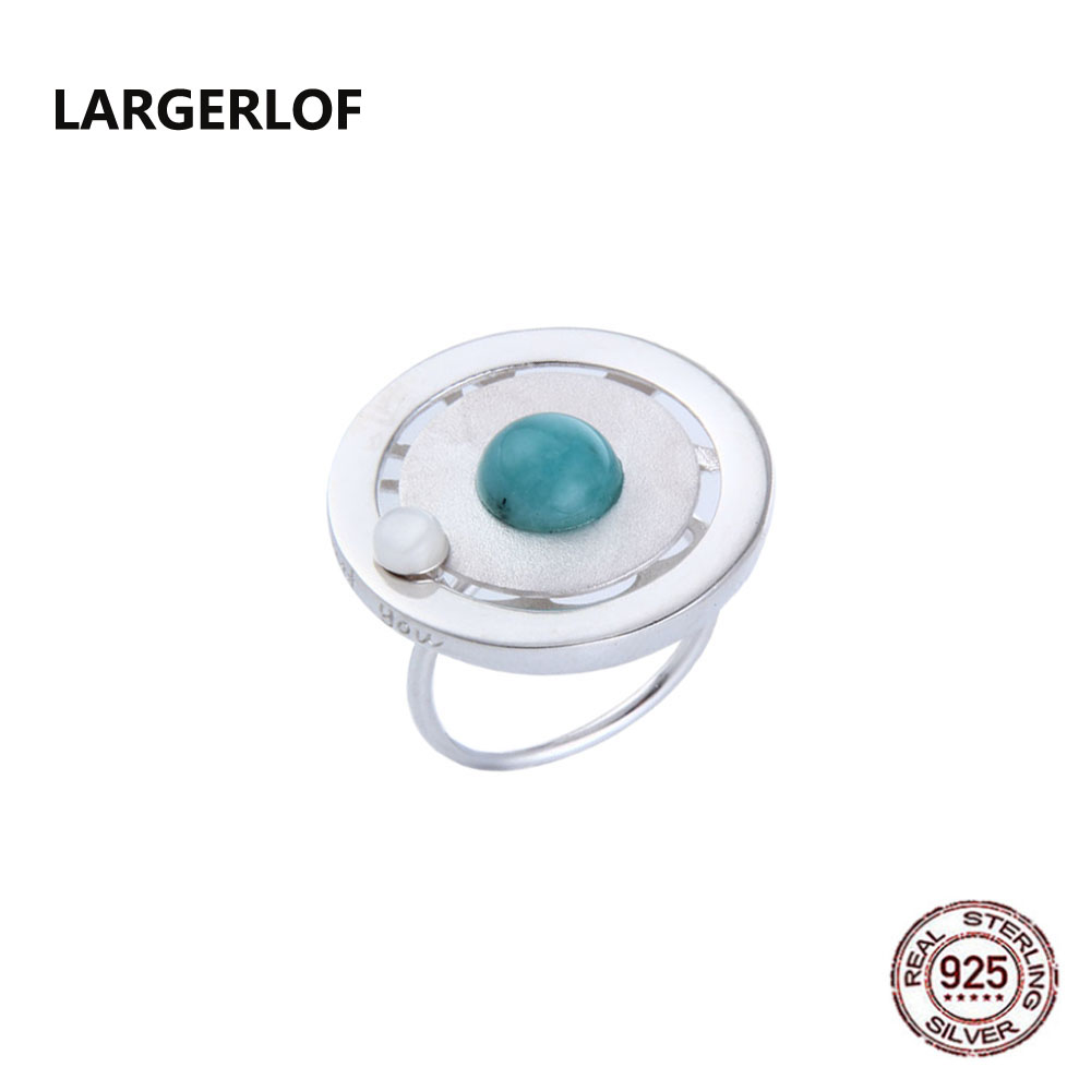 LARGERLOF 925 Sterling Silver Genuine Ring Amazonite Shell Silver 925 Jewelry Ladies Gemstone Ring RG49112 brand white shell crystal star chain ring 925 sterling silver pearl shell rose compass cuff ring women wedding vents jewelry