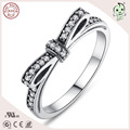 Famous European Jewelry Popular S925 Sterling Silver Bowknot  Wedding Rings
