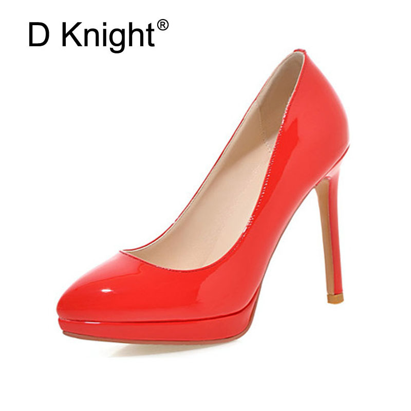 Sexy Pointed Toe Shallow Mouth Thin Heels Women Pumps Fashion Patent High Heels Ladies Party Wedding Shoes Size 34-43 Stilettos meotina high heels shoes women pumps party shoes fashion thick high heels pointed toe flock ladies shoes gray plus size 10 40 43