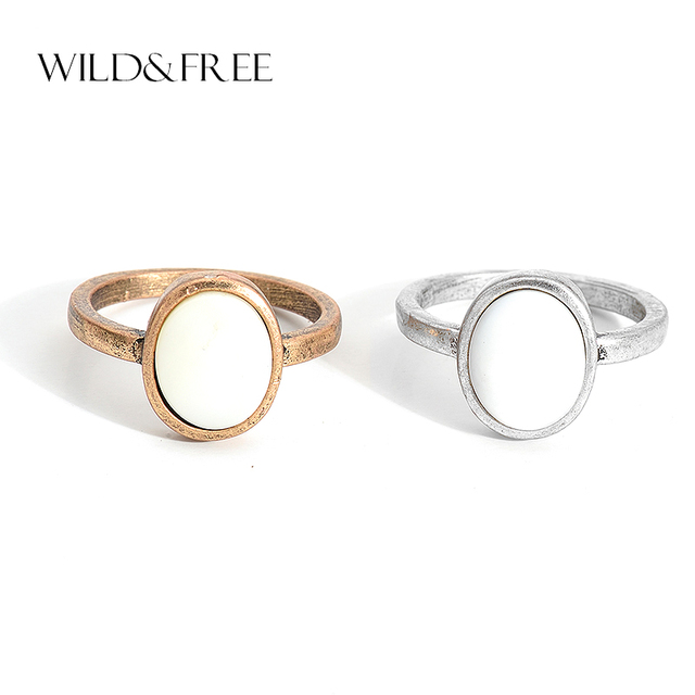 Wild & Free Vintage Antique Gold Silver Single Rings With Natural Shell Round Ge