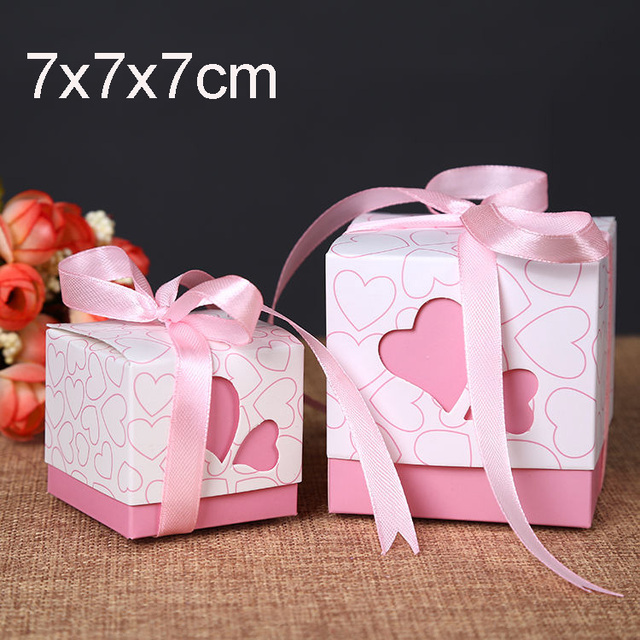20pcs7x7x7cmPink Heart Style Paper Cake Box Party Wedding Candy