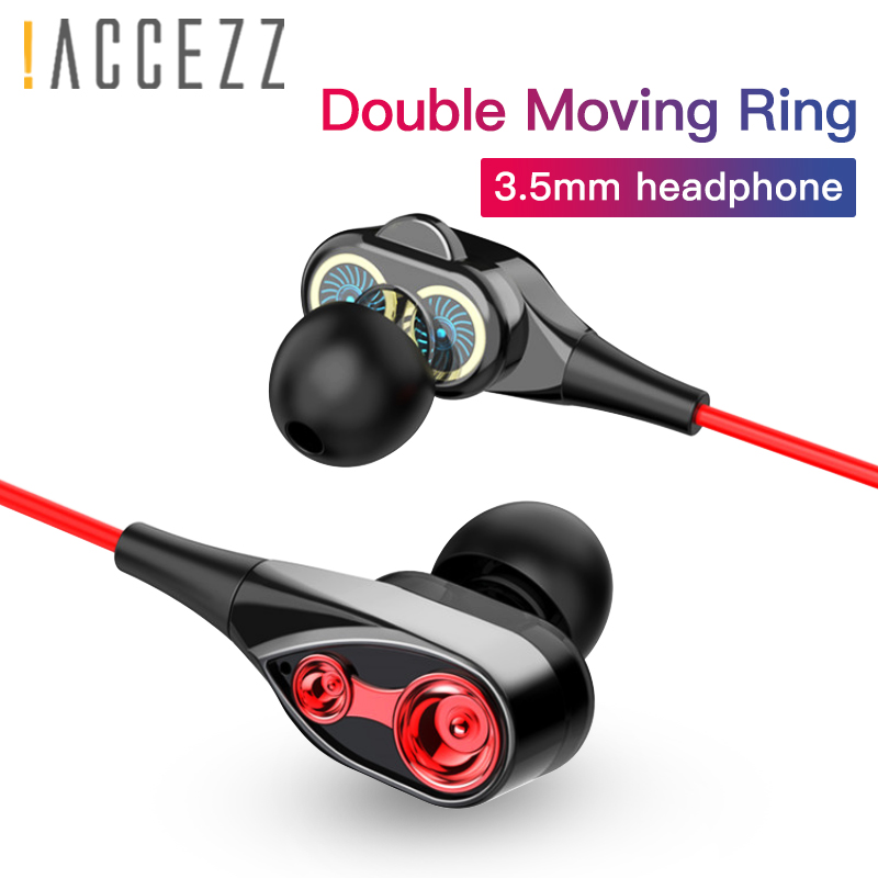 !ACCEZZ Double Drive In Ear Earphone Wired Headset With Microphone For iPhone 4 5 6s Plus Xiaomi Huawei Samsung Cell Phone