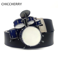 Cool Punk Rock Drum Set Metal Country Western Cowboy Belt Buckle Men S Casual PU Leather
