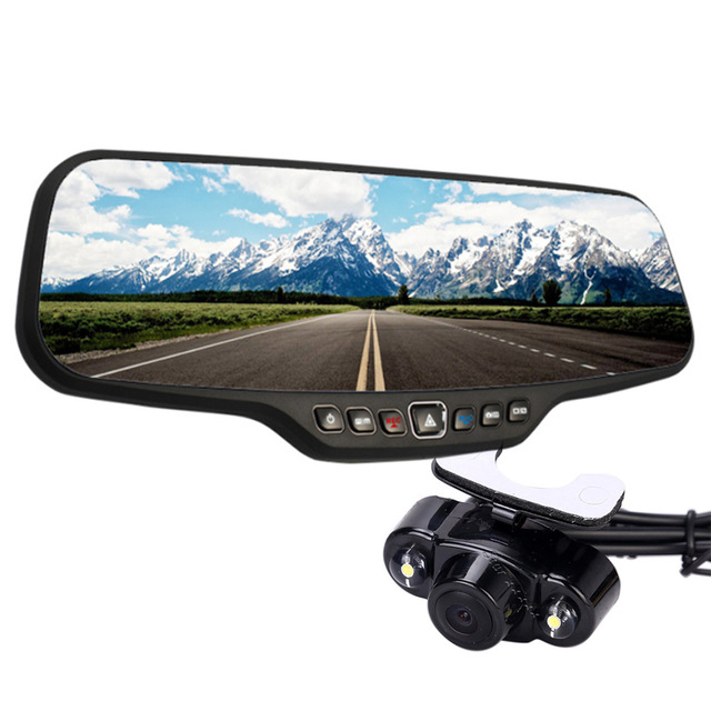 4 3 TFT Display font b Car b font Rearview Mirror DVR Dual Camera Allwinner A20
