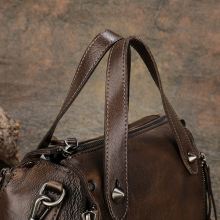 Vintage Genuine Leather Handmade Women Handbag Rivet Cow Leather Top Handle Shoulder Bag High Capacity  Female Messenger Bags