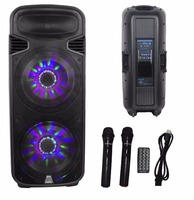 STARAUDIO Pro Dual 15 4500W DJ Stage Powered Active USB SD FM BT Speaker / LED Light 2CH Wireless Microphones SDM 15RGB