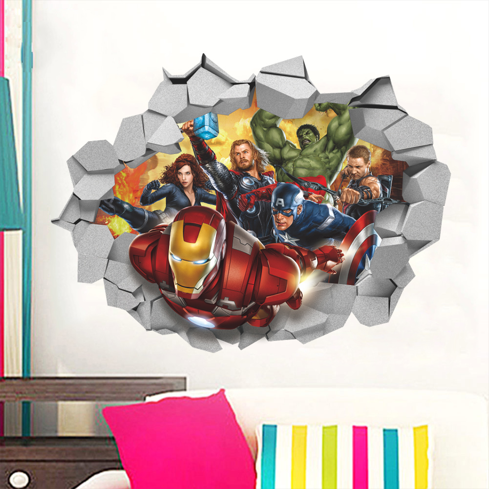 3D cartoon movie the Avengers Captain smashed wall window decorative home decal wall sticker boys girls kids nurdery room decor
