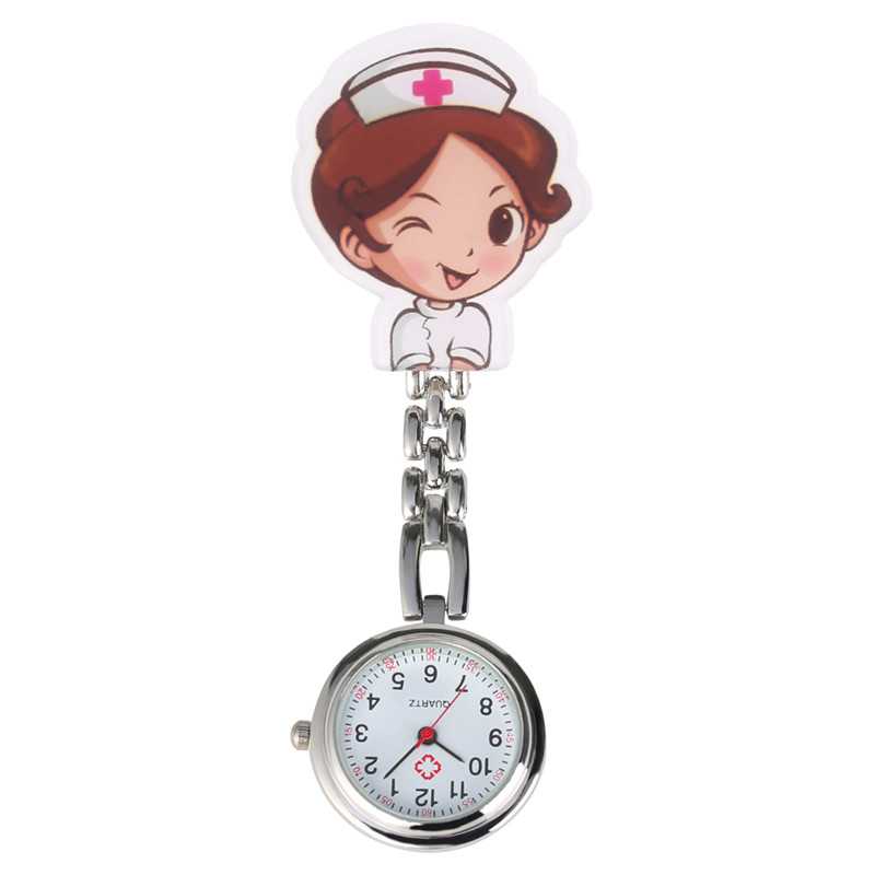 Cartoon Nurse Clock Quartz Pocket Watch Retro For Women Men Steel Clip Arabic Numerals Dial Pendant Watch For Nurses Doctors