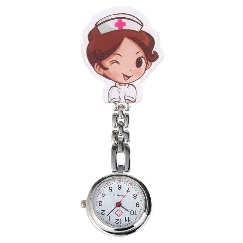 Cartoon Nurse Quartz Pocket Watch Retro For Women Men Steel Clip Arabic Numerals Dial Pendant Watch For Nurses Doctors