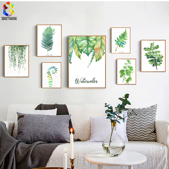 ZeroC Tropical Plant Art Print Poster, Nordic Green Leaf Wall Painting For Living  Room Decoration
