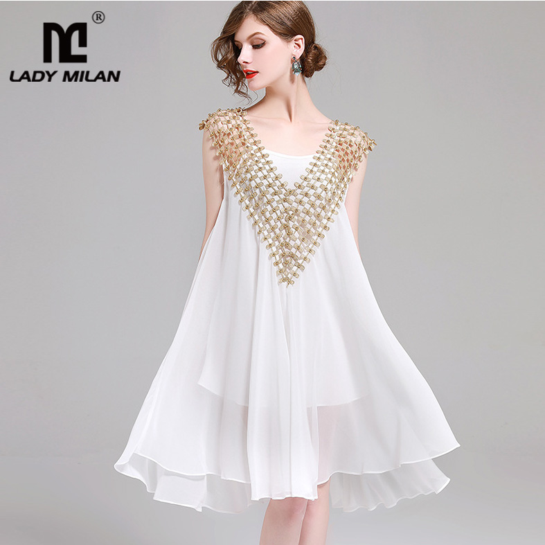 New Arrival Womens Sexy V Neck Sleeveless Loose Design Beaded Patchwork High Street Fashion Casual Dresses