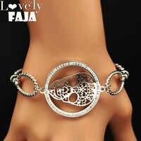 2019 Bracelet en acier inoxydable cristal crâne femmes couleur argent Bracelets & Bracelets bijoux acier inoxydable femme B18179