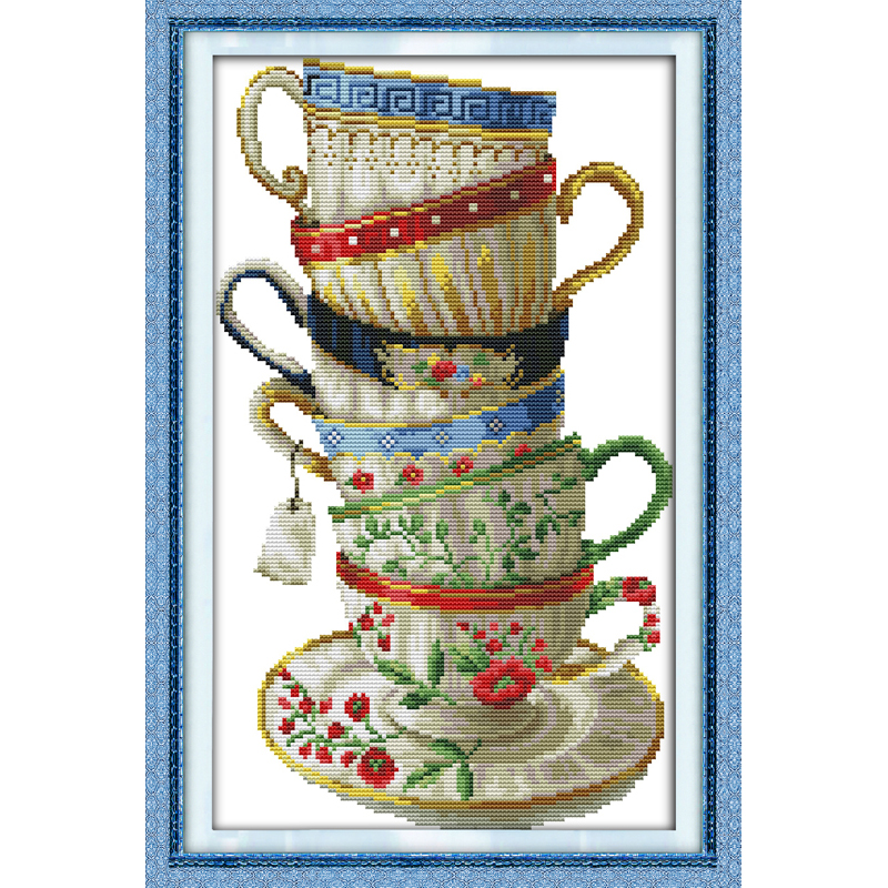 Everlasting love Christmas Elegant coffee cup Chinese cross stitch kits Ecological cotton stamped 11 New store sales promotion