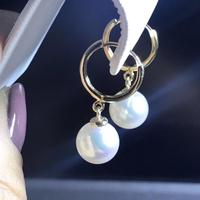 charming 10 11mm south sea white pearl earring 18/k