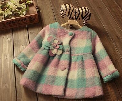fashion plaid girls wool coat with buttons 2017 warm children's winter jackets for kids clothes girls clothing overcoats retail