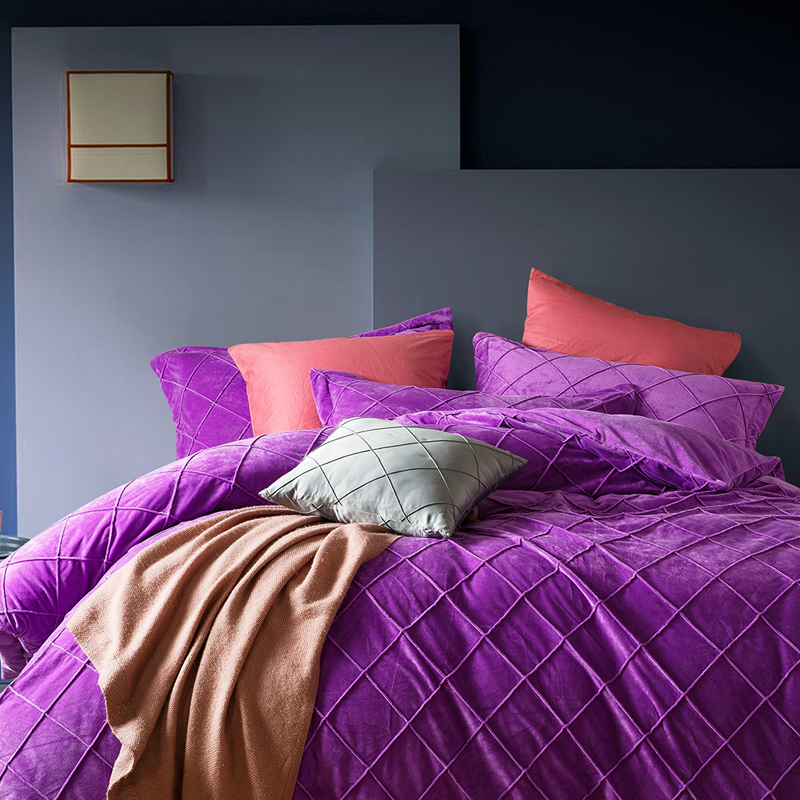 Aliexpress Com Buy High Quality Thick Flocked Modern: Online Buy Wholesale Purple Quilt Cover From China Purple