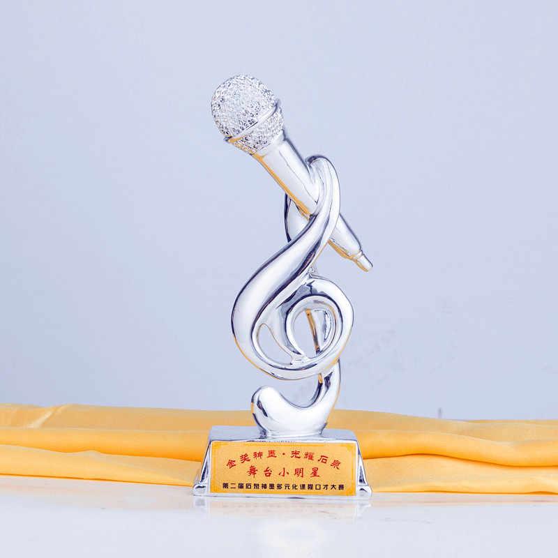 Золотой микрофон cup7.9inches пение конкурс музыкальная награда настраиваемые пение ремесло сувениры украшения дома интимные аксессуары
