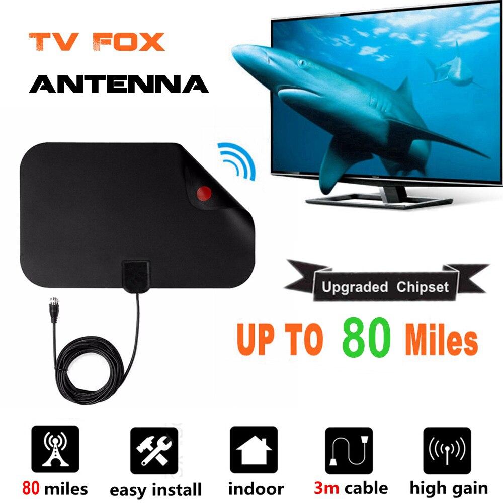 80 Miles Indoor Digital TV Antenne TV Radius TV Surf TV Fuchs Antena HDTV Antennen Empfänger Verstärker Mini DVB-T/ t2 UHF VHF Antenne