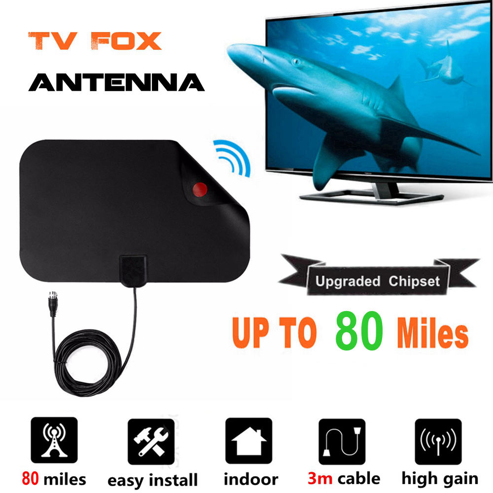 80 millas interior Antena de TV Digital TV Radio TV Surf TV Fox Antena HDTV antenas amplificador receptor Mini DVB-T/ t2 UHF VHF antena