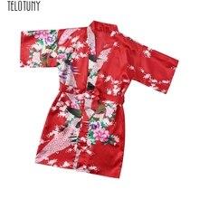 TELOTUNY банные халаты для детей, одежда с цветочным принтом для маленьких девочек, из шелка атласное кимоно; наряд, одежда для сна, одежда Детский банный халат новые модные Jan2